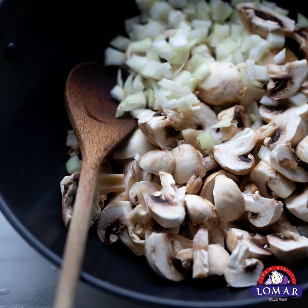 Receta de cebolla y champiñones caramelizados